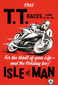 AD71 Vintage 1960's Isle Of Man TT Motorbike Racing Poster Re-Print A4