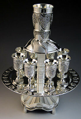 Wine Fountain, 8 Cups, Silver Plated, Grapes Design, Large Cup 3.25