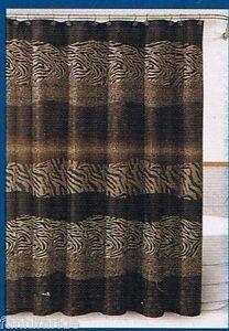 black brown animal print fabric shower curtain matching