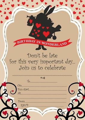 10 x Children Birthday Party Invitations / Thank you Cards ALICE IN WONDERLAND - Alice In Wonderland Party Invitations
