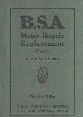 BSA parts Book 1924 all models Illustrated Printed in UK Free 1st class postage