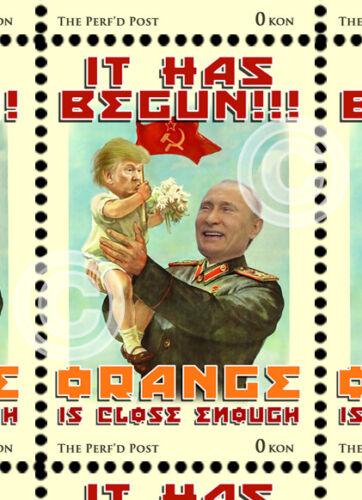 Trump/Putin - Propaganda - Art Stamp - (Artistamp, Faux Postage, REPRO) RESIST!!