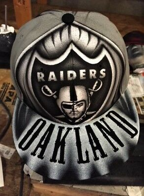 Oakland/LA Raiders Cap/hat Marshawn Lynch Custom Air Brushed one of a kind New](Custom Raiders Hat)