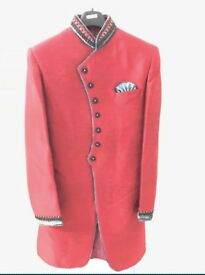Mens New Red Sherwani In Multiple Sizes