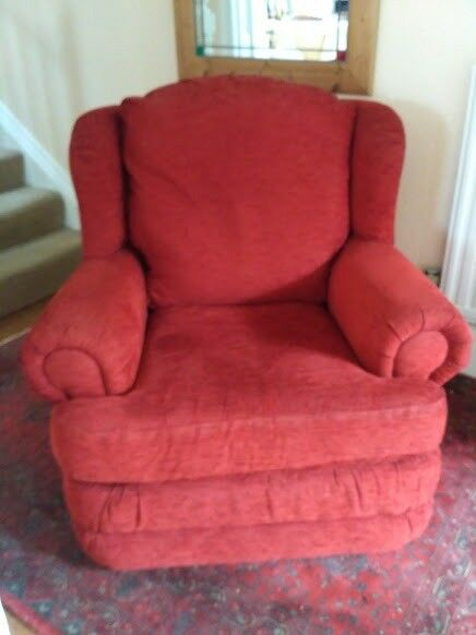 Charming A Pair Of Comfy, Red Armchairs