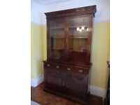 EDWARDIAN BOOKCASE / CUPBOARD WITH GLAZED DOORS OVER CUPBOARD.