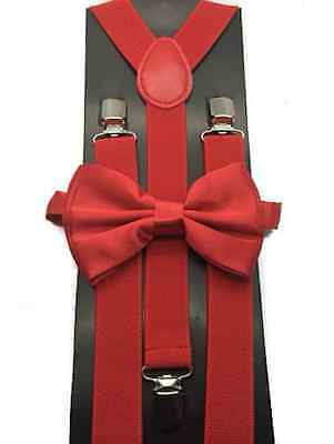 Teen Twin Costumes (Red Bow Tie & Matching Suspenders Set Wedding Prom Teens Adult Halloween)