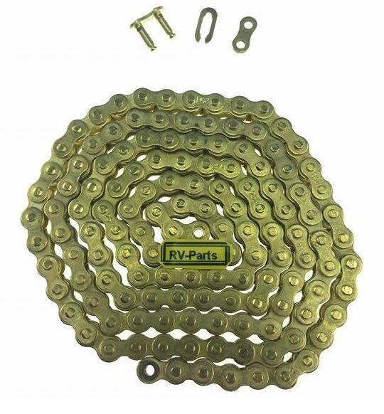 Kette Dünn 25H 68 Glieder und Schloß Antriebskette E-Scooter Pocket Bike Gold