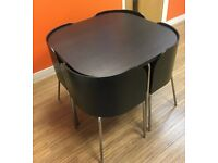 Dark wood effect compact dinning table and 4 chairs