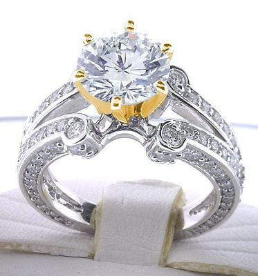 4.12 carat Round cut Diamond Engagement Wedding two-tone 14k Gold Ring