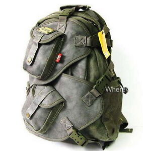MULTIFUNCTION_men's Canvas Backpack Military Style M176G durable Black