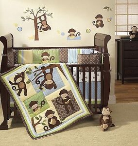 "Ivy and lambs ""M is for monkey"" crib set retails for $239.99"