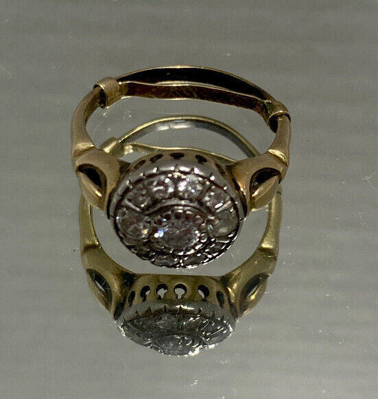 ANTIQUE • Victorian 14k Yellow Gold w/Diamond Cluster Ring Size 6.25