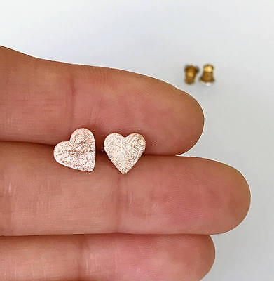 Heart Stud Earrings scratched finish 925 Sterling Silver posts simple daily stud