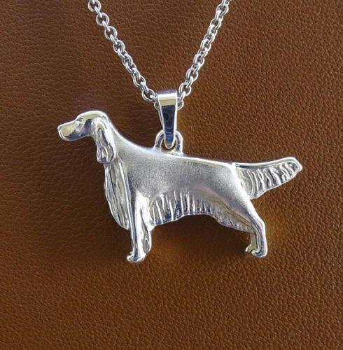 Small Sterling Silver English Setter Standing Study Pendant