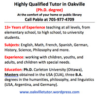 Highly Qualified Tutor in Oakville Area (Ph.D. degree)