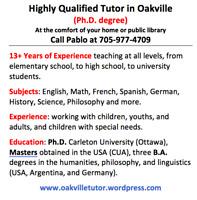 Highly qualified Tutor in Burlington (Ph.D. degree)