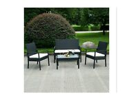 Black Patio Table and Bench Set 2 Chair Outdoor Garden Rattan Sofa for Family