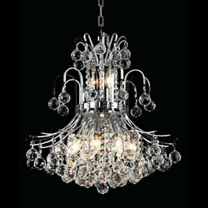ELEGANT CHANDELIER CRYSTAL & CHROME 10 LIGHT