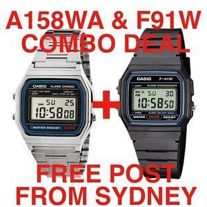 ComboDeal: A158WA SILVER plus F91W CASIO DIGITAL WATCH RETRO VINTAGEF91W-1