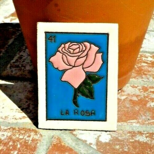 LA ROSA ROSE LOTERIA RED CLAY TILE 3 IN x 4 IN  MEXICO WITH FREE SHIPPING