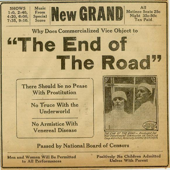 The End Of The Road Prostitution Syphilis Movie Ad Evansville IN 1921 #1