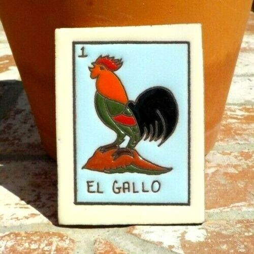 EL GALLO ROOSTER BIRD LOTERIA RED CLAY TILE 3 IN x 4 IN  MEXICO W/ FREE SHIPPING