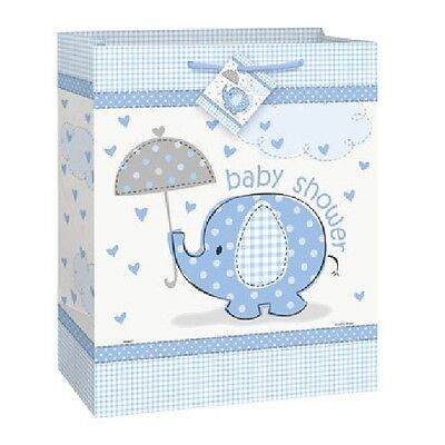 Blue Baby Boy Shower Party SWEET UMBRELLA ELEPHANT LARGE GIFT BAG