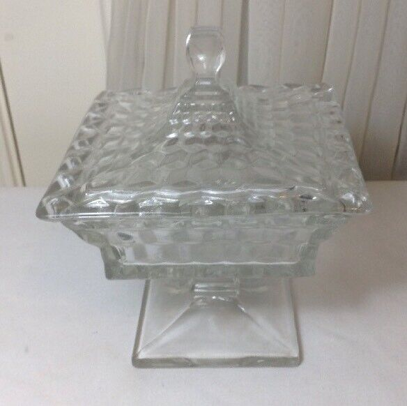 """Vintage American Fostoria 8"""" Tall Square Crystal Footed Wedding Bowl With Lid"""