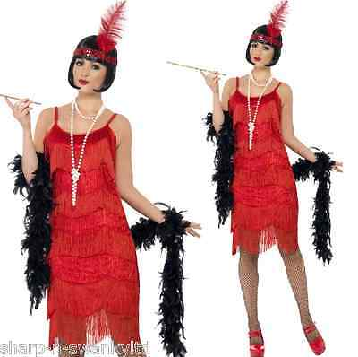 ladies red tassled 1920s flapper gangster hen do fancy dress costume outfit 8 18