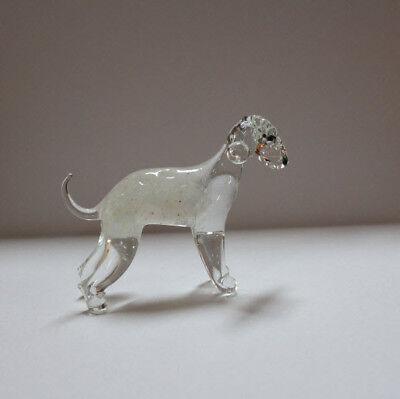 Bedlington Terrier Dog Figurine (Art Blown Glass Murano Figurine Glass Dog  Bedlington Terrier )