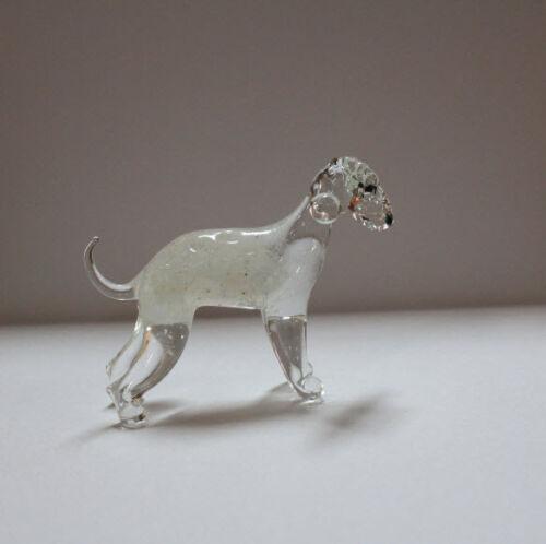 Art Blown Glass Murano Figurine Glass Dog  Bedlington Terrier