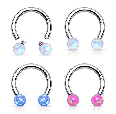1pc Opal Balls Circular Barbell Horseshoe Lip Nipple Septum Ring 16g 5/16