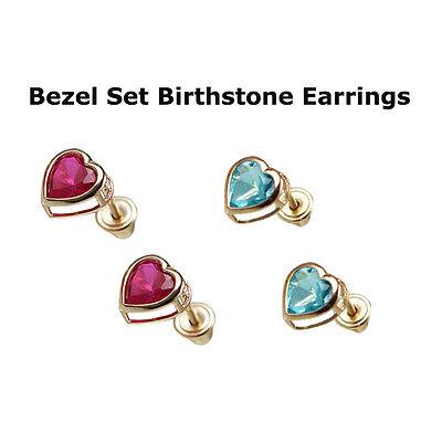 14K Solid Yellow Gold Heart Stud Earrings Birthstone y