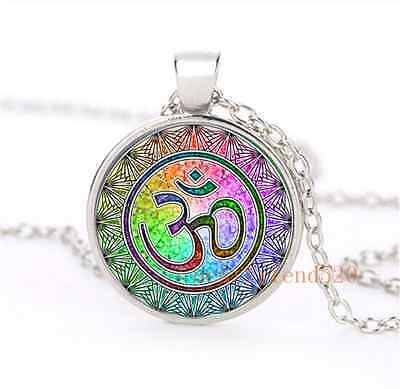Om Mandala Cabochon Glass Silver Plating Necklace For Men Woman Jewelry