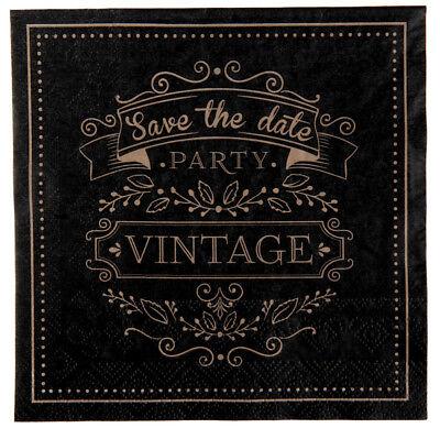 Vintage Party Servietten beige / schwarz Tisch Deko Dekoration Themenparty ()