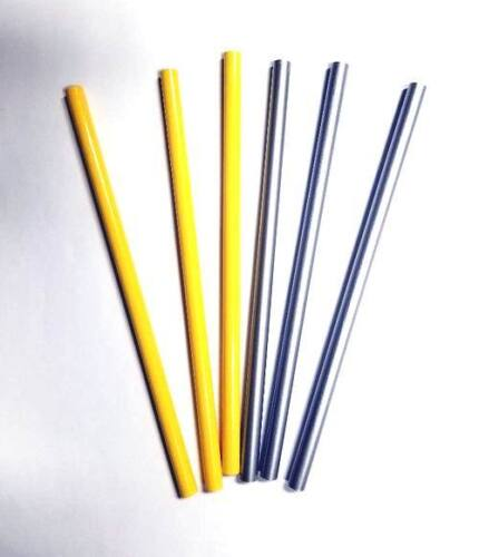 Silver and Yellow Round Shaped Wooden Pencils - No Erasers