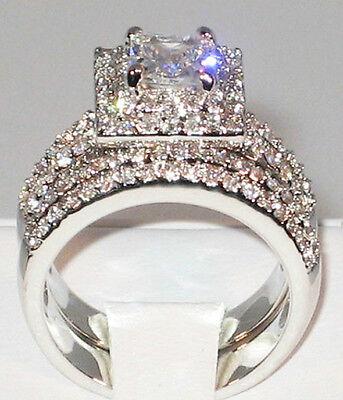 - 3 Ct PRINCESS CUT Cubic Zirconia Platinum EP Engagement Wedding Ring Set- SIZE 9