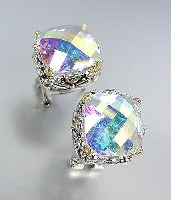 Iridescent Crystal - Designer Style Silver Gold Balinese Filigree Iridescent AB CZ Crystal Earrings