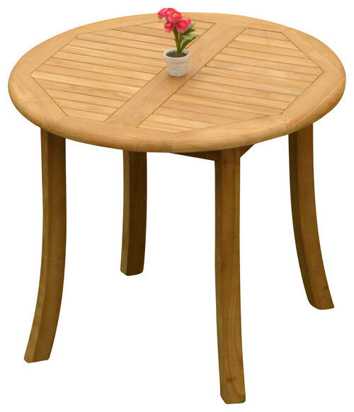 """3pc Grade-a Teak Dining Set 36"""" Round Table 2 Giva Armless Chair Outdoor Patio"""