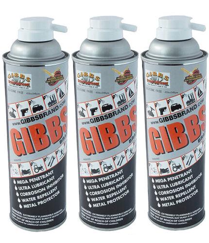 Gibbs Brand Lubricant, Multi Purpose, Penetrating Oil, Metal Protector (3-12oz)