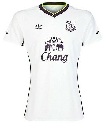 EVERTON (XL) WHITE 2014/15 UMBRO THIRD SHORT/SLEEVE FOOTBALL SOCCER SHIRT JERSEY image