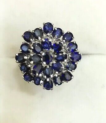 14k Solid White Gold Sapphire Cluster Ring 4.18GM Size 7.5