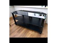 Smart black glass TV stand