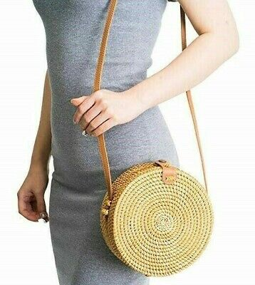 Rattan Bags for Women - Handmade Wicker Woven Purse Handbag Circle Boho Bag Bali Wicker Woven Handbag