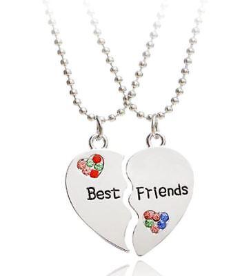 NEW BEST FRIEND Love Heart Color Rhinestone Pendants 2 Necklace BFF Friendship