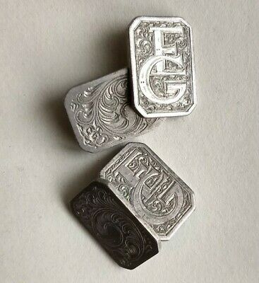 "Monogramed Custom Engraved Vintage Men's Chain Link Cuff Links ""E"" ""G"" Pair"