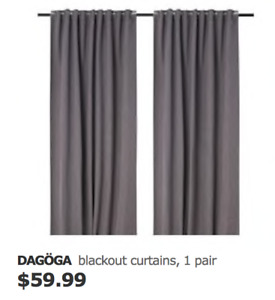 Ikea Blackout curtains with Rod to hang, 1 pair, light gray