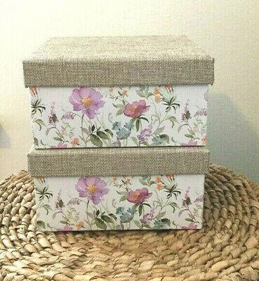 Petal & Stone Decorative Floral Storage Boxes Gift Boxes Set Of 2 Burlap Lid NEW