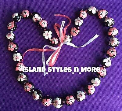 Hawaii Wedding Kukui Nut Lei Graduation Luau Hula Necklace Hibiscus PINK WHITE